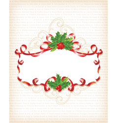 christmas holly banner vector image vector image