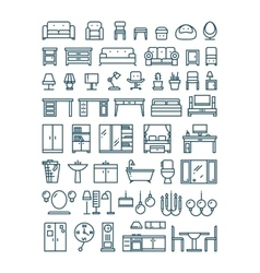 Furniture and sanitary line thin icons vector image