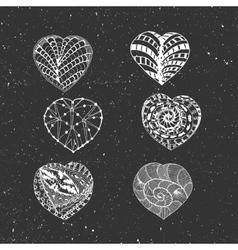 Hand Drawn chalk Hearts Set vector image vector image