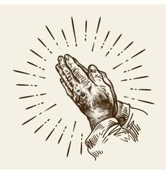 Hand-drawn praying hands Sketch vector image
