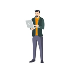 Man With Goatee Beard And Lap Top In Green vector image