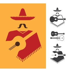 Mexican with guitar vector image vector image