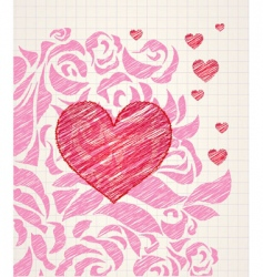 sketchy heart and roses doodle vector image