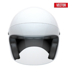 White motorbike classic helmet with clear glass vector image
