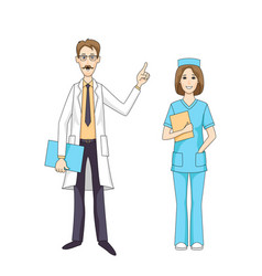 caucasian doctor talking and female nurse isolated vector image