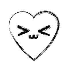 Kawaii heart love romance passion adorable symbol vector