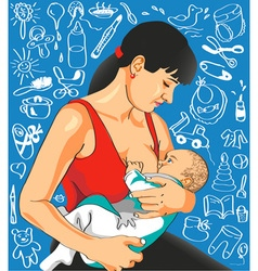 Mother feeds baby vector image