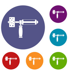 precision grinding machine icons set vector image