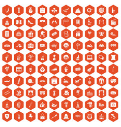 100 mask icons hexagon orange vector
