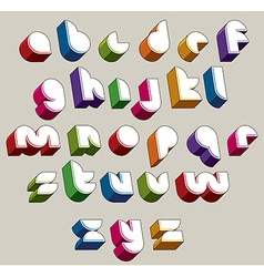 3d futuristic font bright and colorful letters vector image