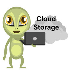 alien use cloud storage on white background vector image