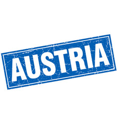 Austria blue square grunge vintage isolated stamp vector