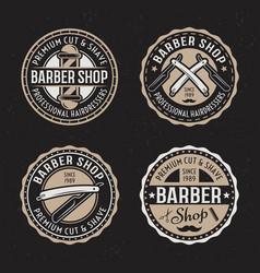 Barber shop set round badges emblems vector