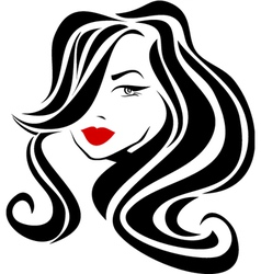 Beautiful girl with wavy hair and red lips vector