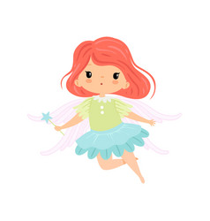 Beautiful little winged fairy sweet flying girl vector