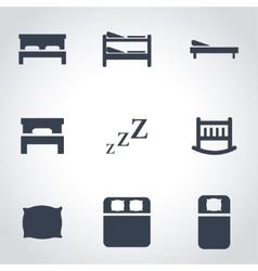 black bed icon set vector image vector image