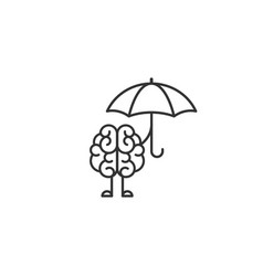 black brain character with umbrella icon vector image
