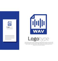 Blue wav file document download wav button icon vector