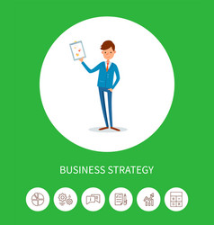business strategy businessman holding plan page vector image