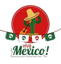 Cactus with hat icon Mexico culture vector