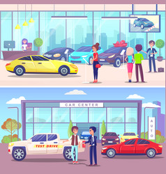 car center buyer and manager vehicle showroom vector image