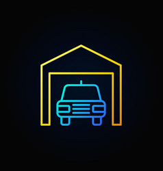 Car in garage outline icon vector