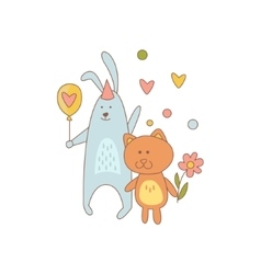 Cat And Rabbit Characters On Birthday Party vector image