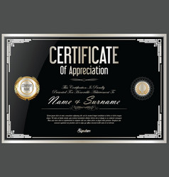 Certificate retro design template 20 vector