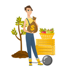 Chained caucasian farmer holding a money bag vector
