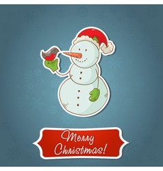 Christmas snowman invitation postcard vector image