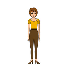Colorful silhouette of woman with yellow t-shirt vector