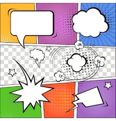 Comic speech bubbles and comic strip on colorful vector image