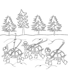 Contour black and white drawing turtles with skis vector
