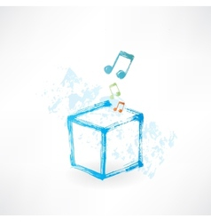 Cube music grunge icon vector