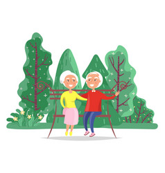 dating grandparents hugging on bench vector image
