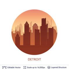 Detroit famous city scape vector