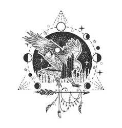 eagle tattoo or t-shirt print design vector image