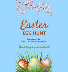 easter hunt invitation card vector image