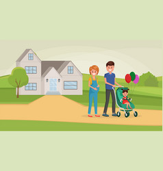 family walking near home vector image