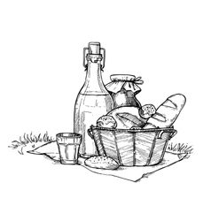 Farm food set freehand pencil drawing vector image