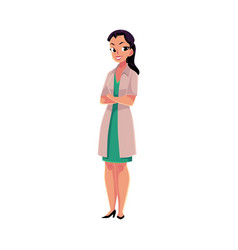 female woman doctor in medical coat standing with vector image