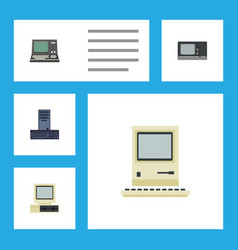 flat icon laptop set of computing vintage vector image