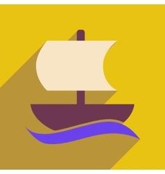 Flat web icon with long shadow sailing ship vector