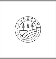 forest logo line designnature logo vintage vector image
