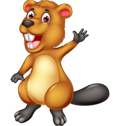 funny brown beaver cartoon vector image