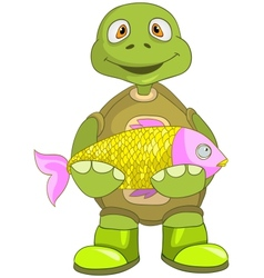 Funny Turtle Fisherman vector