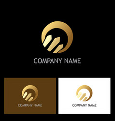gold round arrow company logo vector image