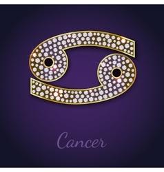 Golden Cancer zodiac signs vector