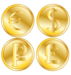 Golden coins of the different countries vector