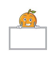 Grinning orange fruit cartoon character with board vector